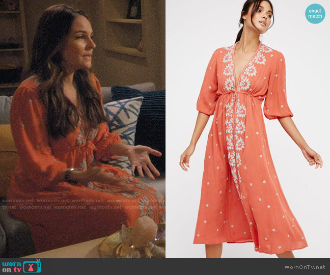 Free People Embroidered Fable Midi Dress worn by Luisa Alver (Yara Martinez) on Jane the Virgin