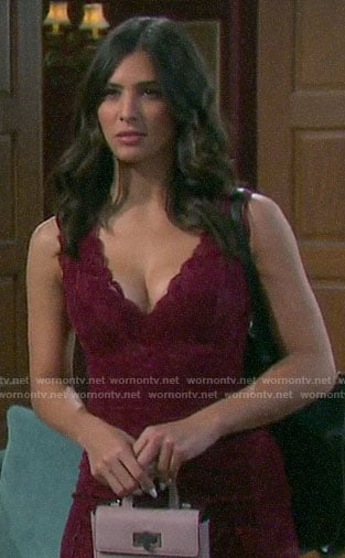 Gabi's red lace mini dress on Days of our Lives