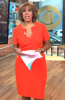 Gayle's orange folded neck dress on CBS This Morning