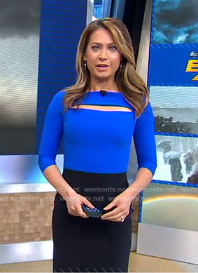 Ginger's blue and black cutout dress on Good Morning America