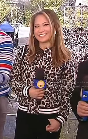 Ginger's leopard print varsity jacket on Good Morning America