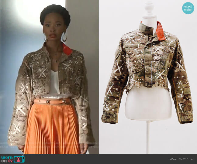 Butterfly Girl Jacket by Girl God worn by Monica Colby (Wakeema Hollis) on Dynasty