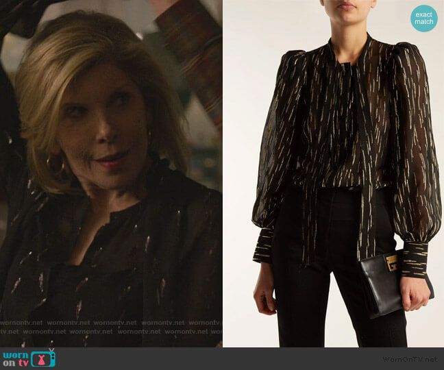 Pussy-bow metallic blouse by Givenchy worn by Diane Lockhart (Christine Baranski) on The Good Fight