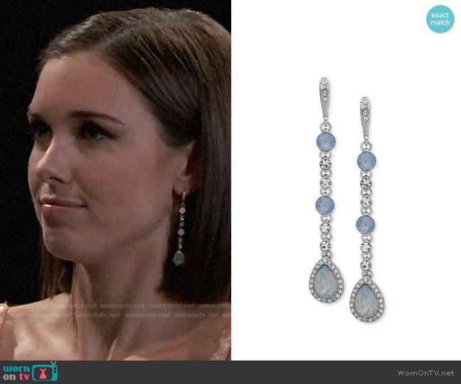 Givenchy Crystal & Stone Linear Extra Large Drop Earrings worn by Willow Tait (Katelyn MacMullen) on General Hospital
