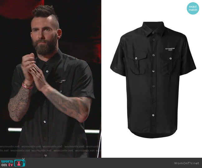 Logo Button-Up Shirt by Givenchy worn by Adam Levine  on The Voice