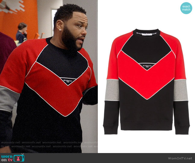 Givenchy Logo Embroidered Geometric Cotton Sweatshirt worn by Andre Johnson (Anthony Anderson) on Blackish