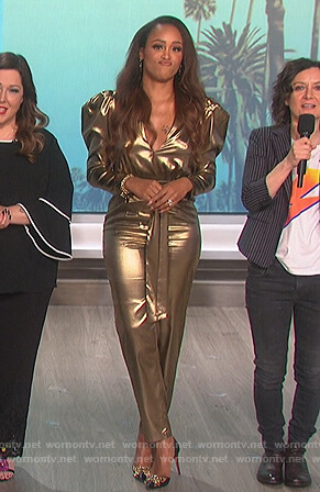Eve's gold metallic jumpsuit on The Talk
