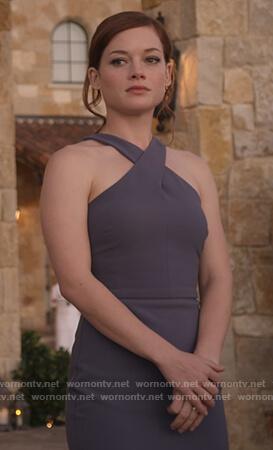 Lisa's gray cross neck dress on What/If