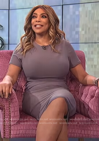 Wendy's gray stretch midi dress on The Wendy Williams Show