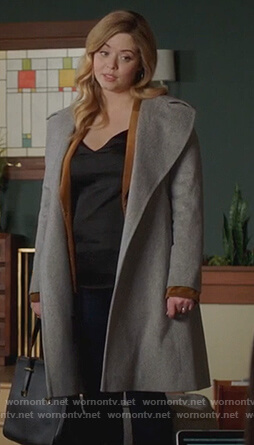 Ali's gray wrap coat on Pretty Little Liars The Perfectionists