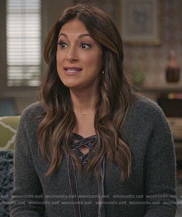 Colleen's gray lace-up sweater on Life in Pieces
