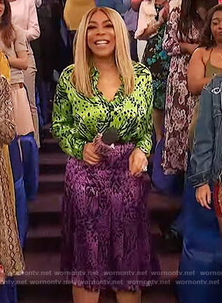 Wendy's printed top and skirt on The Wendy Williams Show