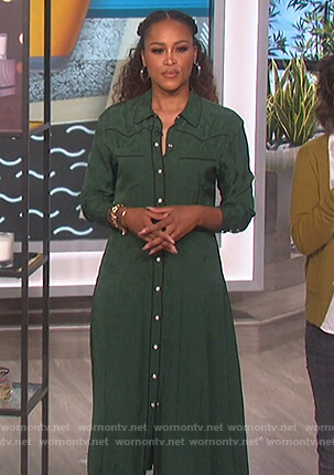 Eve's green shirtdress on The Talk