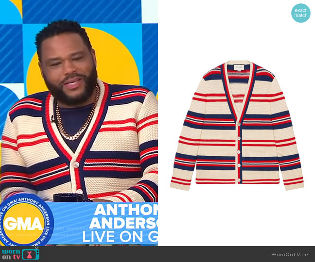 Gucci Cotton Wool Cardigan with Appliqué worn by Anthony Anderson on GMA
