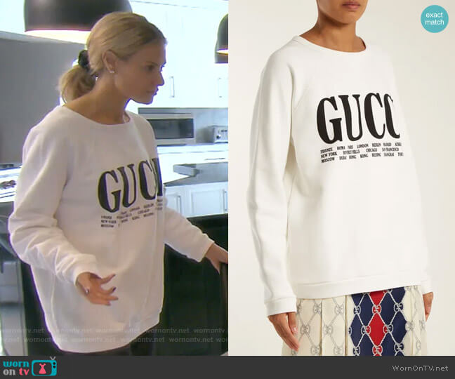 Crew-Neck Cotton Sweatshirt by Gucci worn by Dorit Kemsley  on The Real Housewives of Beverly Hills