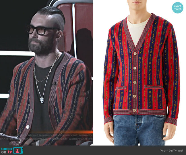 Horsebit Stripe Cardigan by Gucci worn by Adam Levine  on The Voice