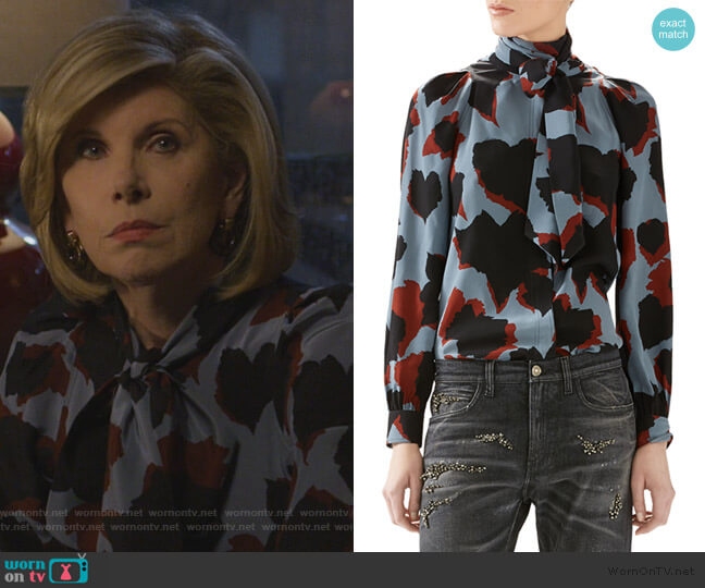 Leaves Print Silk Shirt by Gucci worn by Diane Lockhart (Christine Baranski) on The Good Fight