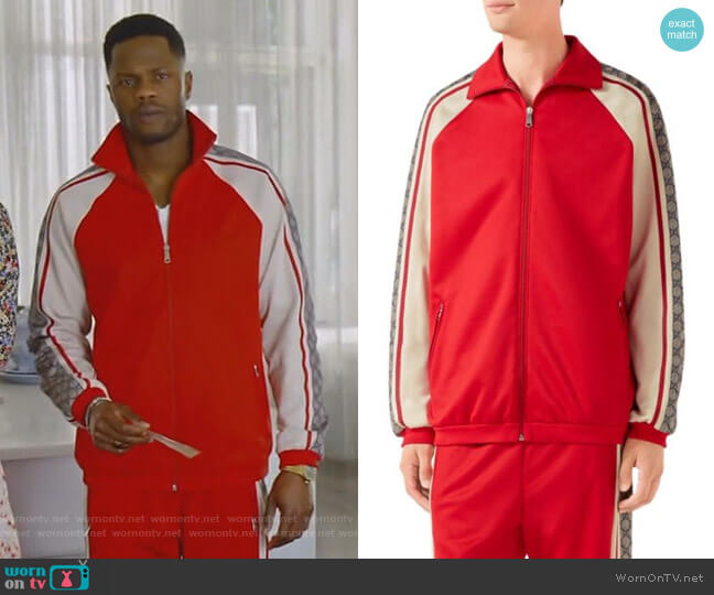 Oversize Technical Jersey Jacket by Gucci worn by Jeff Colby (Sam Adegoke) on Dynasty