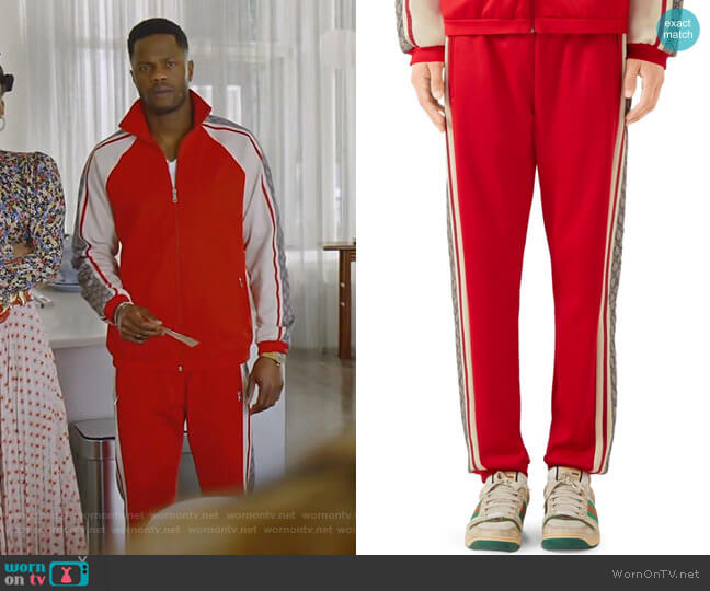 Oversize Technical Jersey Jogging Pant by Gucci worn by Jeff Colby (Sam Adegoke) on Dynasty