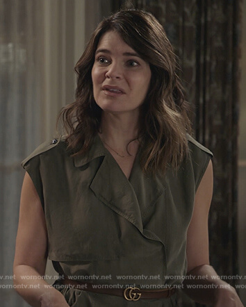 Heather's green trench dress on Life in Pieces