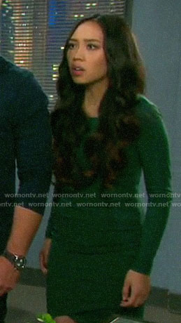 Haley's green long sleeved dress on Days of our Lives