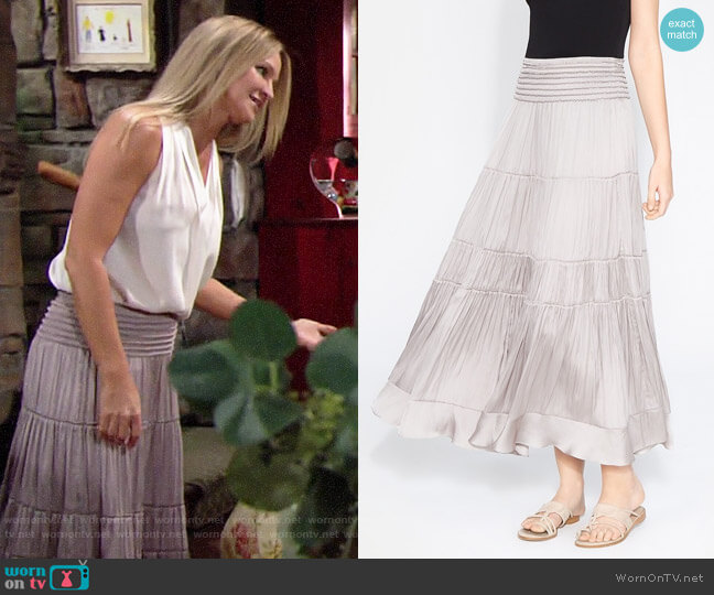 Halston Heritage Flowy Smocked Midi Skirt worn by Sharon Collins (Sharon Case) on The Young & the Restless