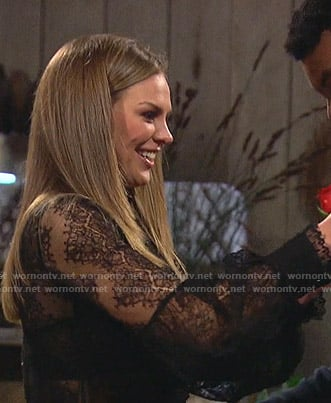 Hannah's black lace blouse on The Bachelorette