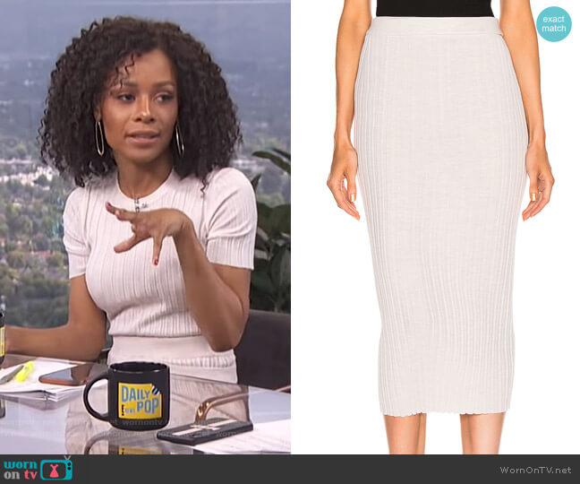 Double Waistband Skirt by Helmut Lang worn by Zuri Hall  on E! News