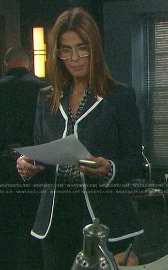 Hope's navy blazer with white trim on Days of our Lives