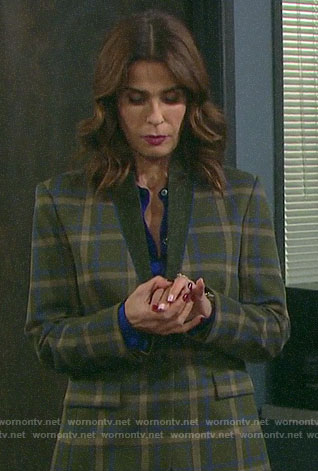 Hope's brown checked blazer on Days of our Lives