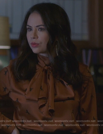 Mona's brown horse print blouse on Pretty Little Liars The Perfectionists