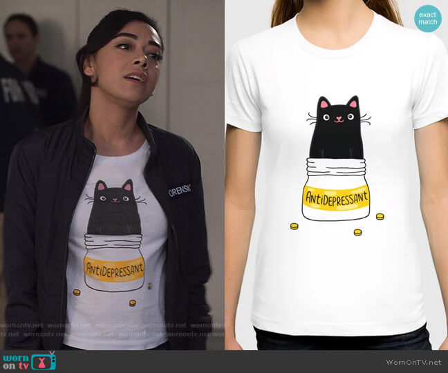 Antidepressant T-Shirt by Anna Alekseeva kostolom3000 at Society6 worn by Ella Lopez (Aimee Garcia) on Lucifer