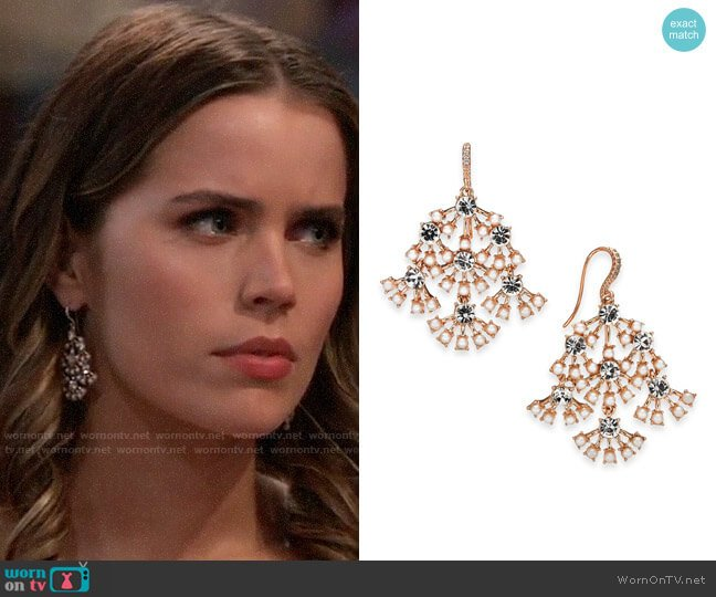 INC International Concepts Rose-Gold Tone Pearl & Crystal Chandelier Earrings worn by Sasha Gilmore (Sofia Mattsson) on General Hospital