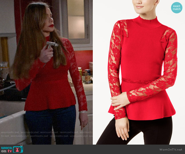 INC International Concepts Lace-Sleeve Peplum Sweater worn by  Gloria Pritchett (Sofia Vergara) on Modern Family