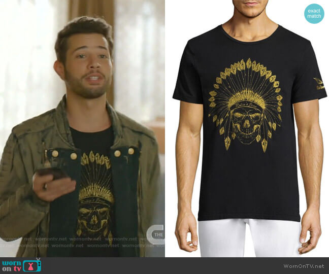 Indian Skull Cotton Tee by Robins Jeans worn by Sam Flores (Rafael de la Fuente) on Dynasty