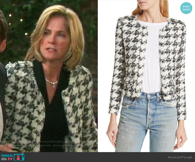 IRO Houndstooth Tweed Jacket worn by Eve Donovan (Kassie DePaiva) on Days of our Lives
