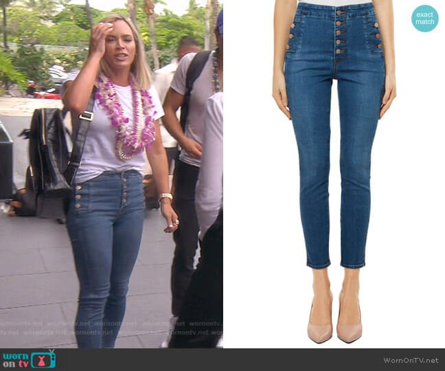 Natasha Sky High Crop Skinny Jeans by J Brand worn by Teddi Mellencamp Arroyave  on The Real Housewives of Beverly Hills