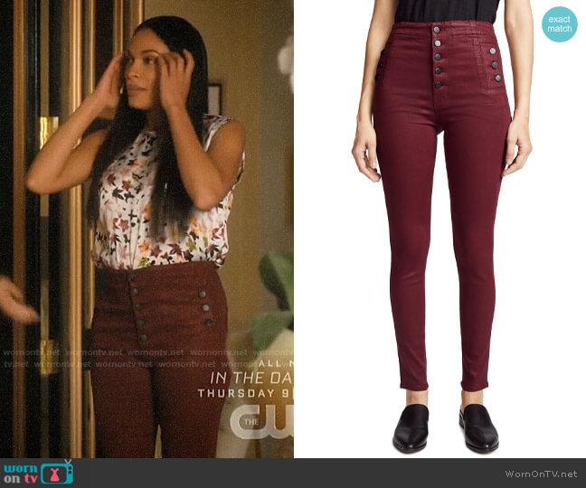 J Brand Natasha Jeans in Coated Oxblood worn by Jane Ramos (Rosario Dawson) on Jane the Virgin