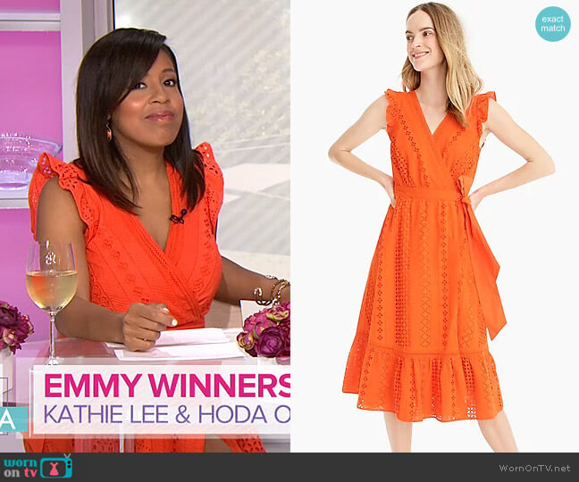 Midi wrap dress in Allover Eyelet by J. Crew worn by Sheinelle Jones (Sheinelle Jones) on Today
