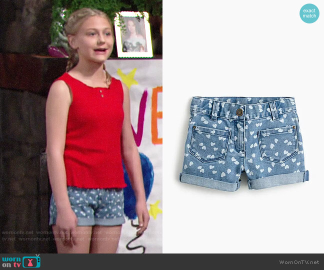 J. Crew Girls' patch-pocket stretch denim short in hearts worn by Faith Newman (Alyvia Alyn Lind) on The Young & the Restless