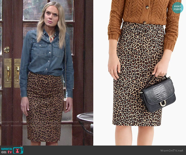 J. Crew No. 2 Pencil® skirt in leopard bi-stretch cotton worn by Abby Newman (Melissa Ordway) on The Young & the Restless