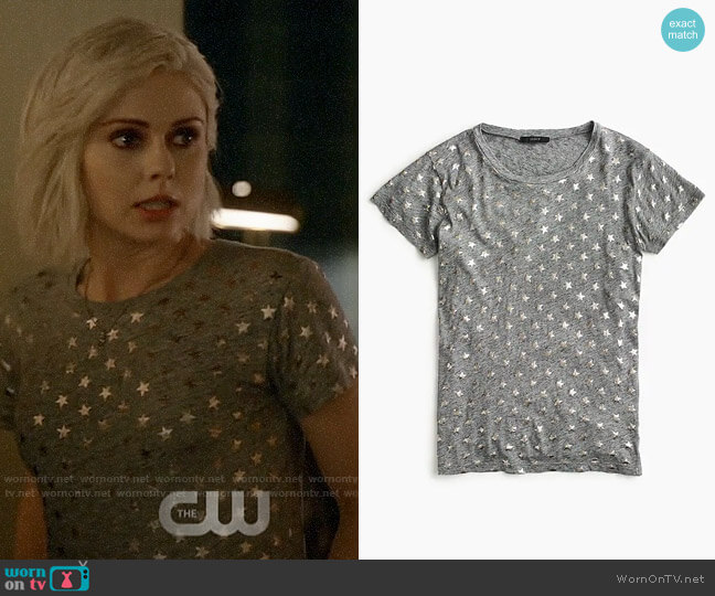 J. Crew Metallic Stars T-shirt worn by Liv Moore (Rose McIver) on iZombie