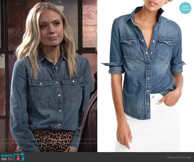 J. Crew Western chambray shirt worn by Abby Newman (Melissa Ordway) on The Young & the Restless