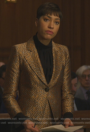 Lucca's metallic blazer and skirt on The Good Fight