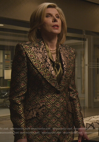 Diane's jacquard print blazer on The Good Fight