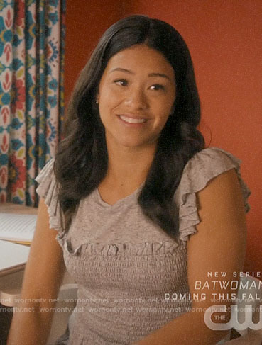 Jane's grey smocked bodice top on Jane the Virgin