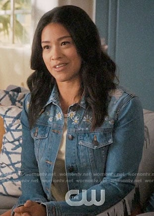 Jane's fringed daisy print denim jacket on Jane the Virgin