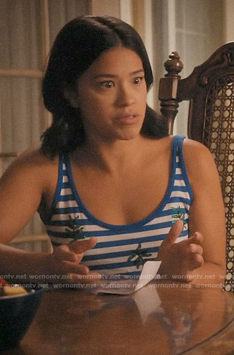 Jane's blue striped tank top with green sequin leaves on Jane the Virgin