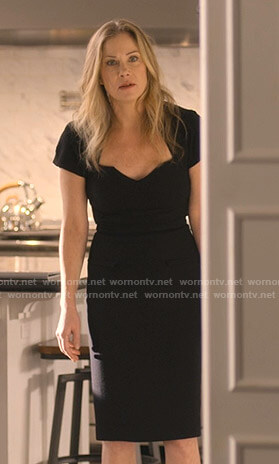 Jen's black sheath dress on Dead to Me