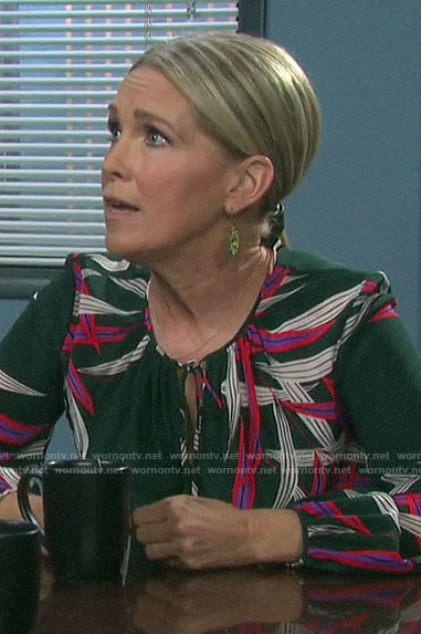 Jennifer's leaf print blouse on Days of our Lives